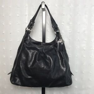 Black leather dual strap Coach hobo bag